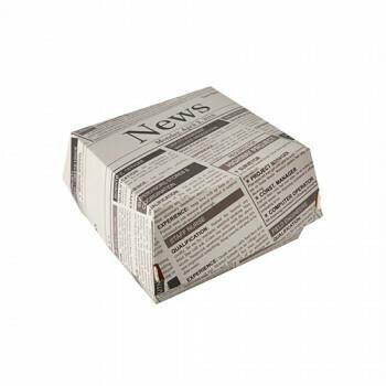 Hamburgerbox met krantenprint | 7x11x11,5 cm, verpakt per 400 stuks