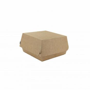 Hamburgerbox, Bruin/Wit Karton | 115x110x70mm, verpakt per 500 stuks