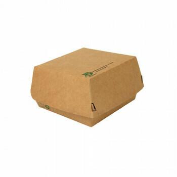 Hamburgerbox Giant (100% FAIR)   15,5 cm x 15,5 cm x 9 cm, verpakt per 225 stuks