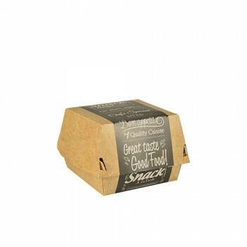 Hamburgerbox karton klein (Good Food)   9 cm x 9 cm x 7 cm, verpakt per 500 stuks
