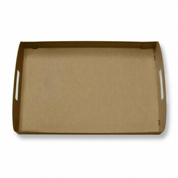 Kartonnen dienbladen / draagtrays (100% FAIR) | 46x31x4,5cm, voor cateringdoos maat L, verpakt per 50 stuks