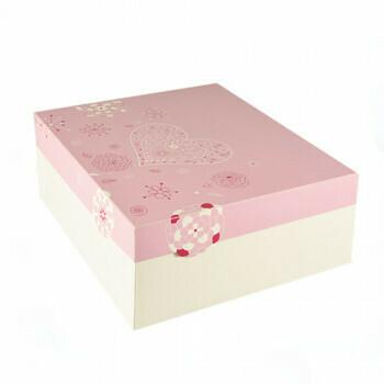 Cake dozen, met deksel, 30 cm x 30 cm x 13 cm weiss/rosa 'Lovely Flowers', verpakt per 70 stuks