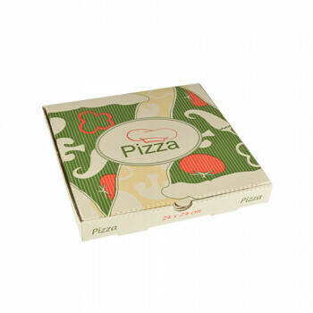 Pizzadozen, Cellulose 'pure' plein 33 cm x 33 cm x 3 cm, verpakt per 100 stuks
