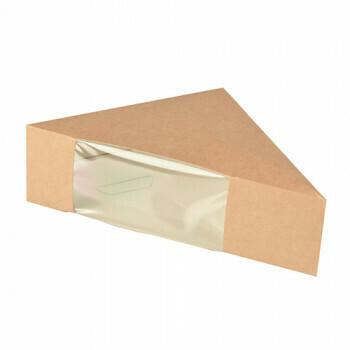 Kartonnen sandwichboxen met venster van PLA 'pure' 12,3 cm x 12,3 cm x 5,2 cm bruin, Verpakt per 500 stuks