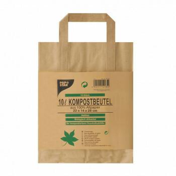 Compostzakken met handvat van papier 10 l 28 cm x 22 cm x 14 cm bruin 'bedrukt', verpakt per 300 stuks