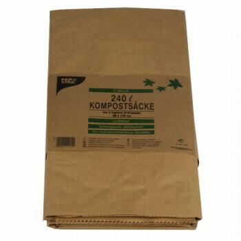 Compostzakken van papier 120 l 110 cm x 68 cm x 21,5 cm bruin, verpakt per 30 stuks