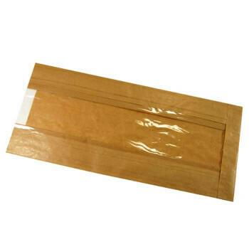 FSC® kraft/PLA vensterzak 9,5x32,5x(2x3)cm, verpakt per 1000 stuks