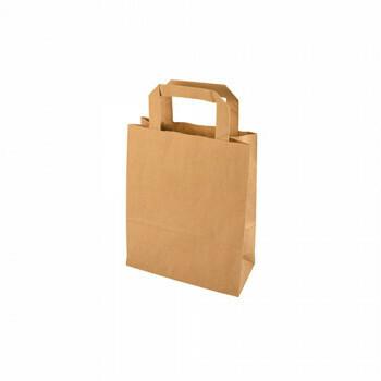 Kraft papieren draagtas bruin, 18+10x22 cm, verpakt per 400 stuks