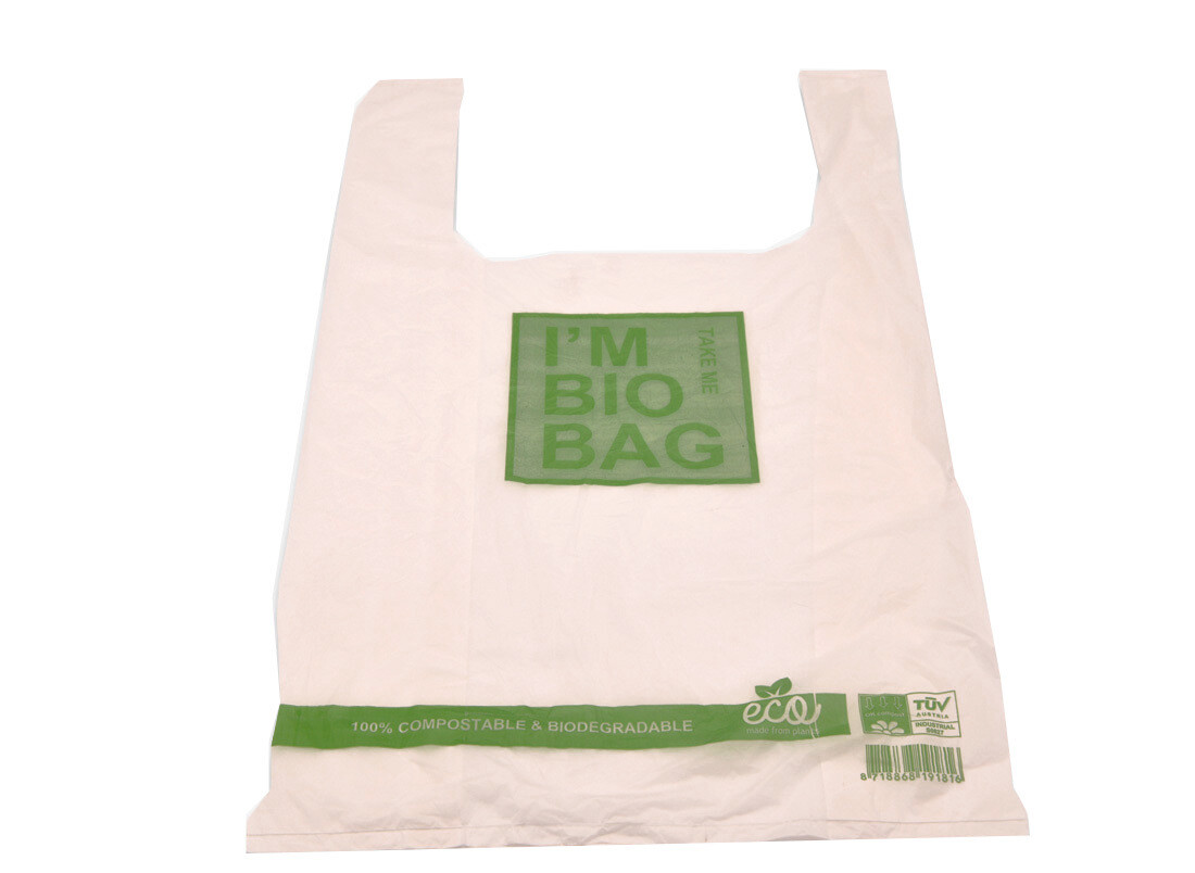 "Draagtasje ""Bio Bag"" 28+14x48cm, 15my dik, verpakt per 500 stuks"