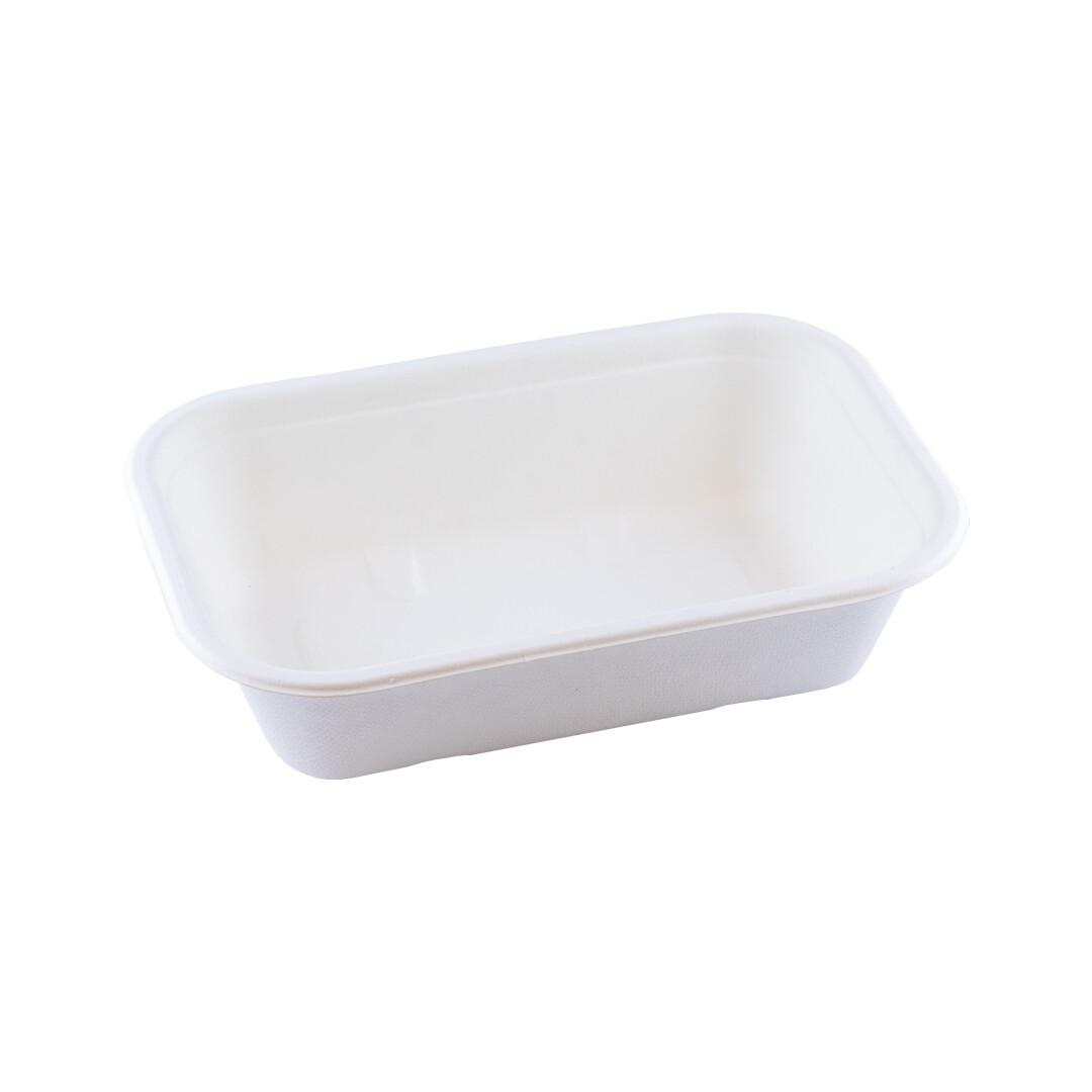 Bagasse maaltijdbak wit 650ml/205x130x56mm Verpakt per 125 stuks