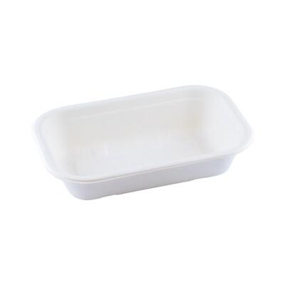 Bagasse maaltijdbak wit 500ml/205x130x45mm Verpakt per 125 stuks