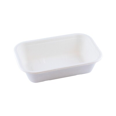 Bagasse maaltijdbak wit 850ml/229x153x50mm Verpakt per 125 stuks