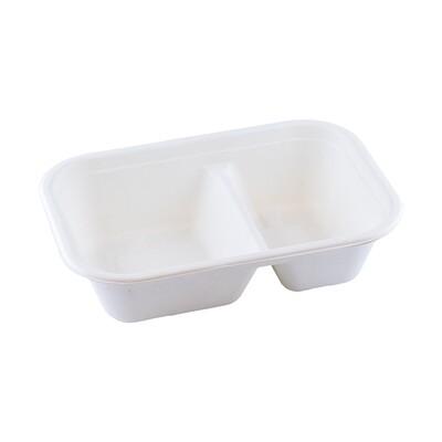 Bagasse maaltijdbak wit 1000ml/22,9x15,3x6,1cm 2-vaks, verpakt per 125 stuks