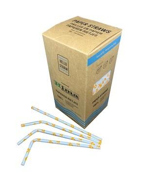 Premium papieren buigrietjes 6x200mm oranje kroontje, verpakt per 5000 stuks
