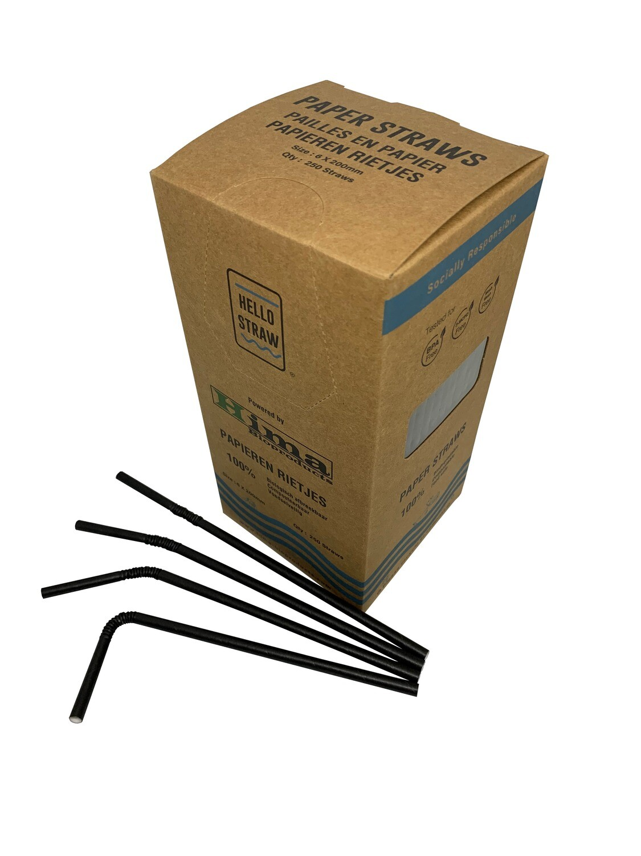 Premium papieren buigrietjes 6x200mm zwart , verpakt per 5000 stuks