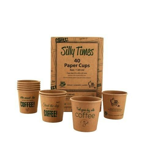 Koffiebeker (Silly Times) karton | 120ml/4oz, verpakt per 40 stuks in displaydoos.