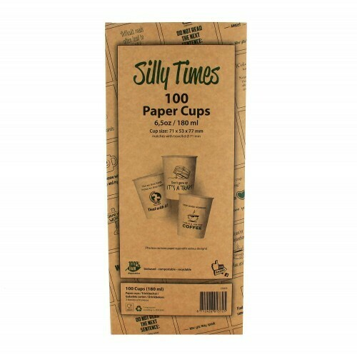 Koffiebeker (Silly Times) karton | 177ml/6oz, 6 displaydozen met 100 stuks in omdoos.