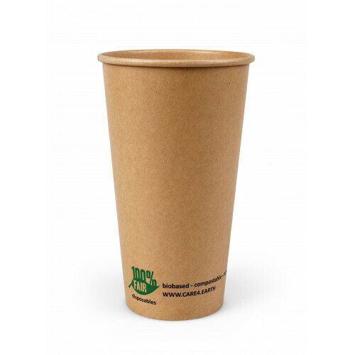 Milkshakebeker van bruin karton (100% FAIR) | 12oz/360ml Ø 90mm, verpakt per 500 stuks