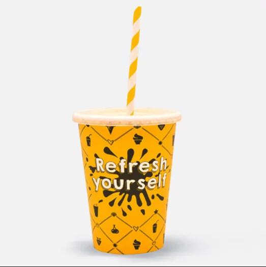 """Milkshakebeker 12oz/300ml Ø 90mm, """"Refresh yourself"""", verpakt per 1000 stuks"""