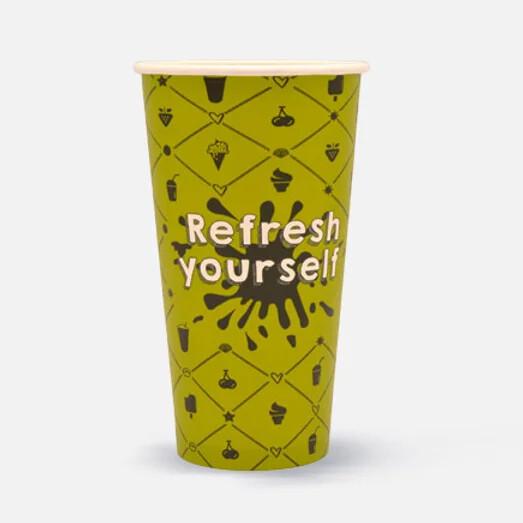 """Milkshakebeker 20oz/600ml Ø 90mm, """"Refresh yourself"""", verpakt per 1000 stuks"""