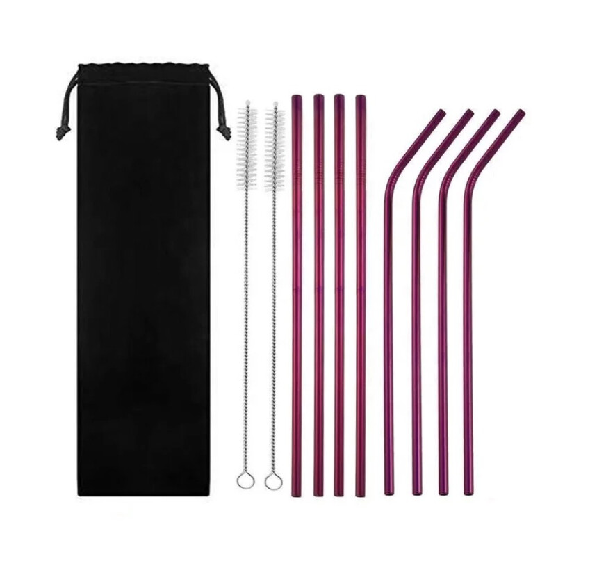 "RVS rietjes ""Purple"" family pack"