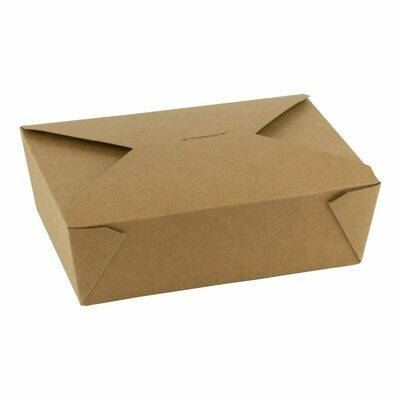 Bio kraft/PLA take away box 1800ml/195x140x65mm, verpakt per 100 stuks