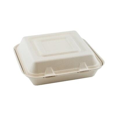 Bagasse 3-vaks menubox 25x25x8cm/1500ml bruin 3-vaks Verpakt 200 stuks