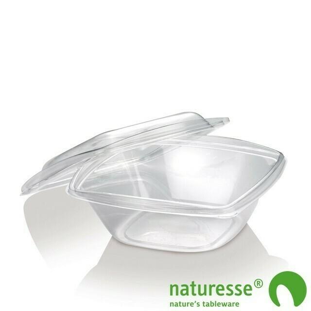 PLA saladebakje + deksel transparant 720ml, verpakt per 50 stuks