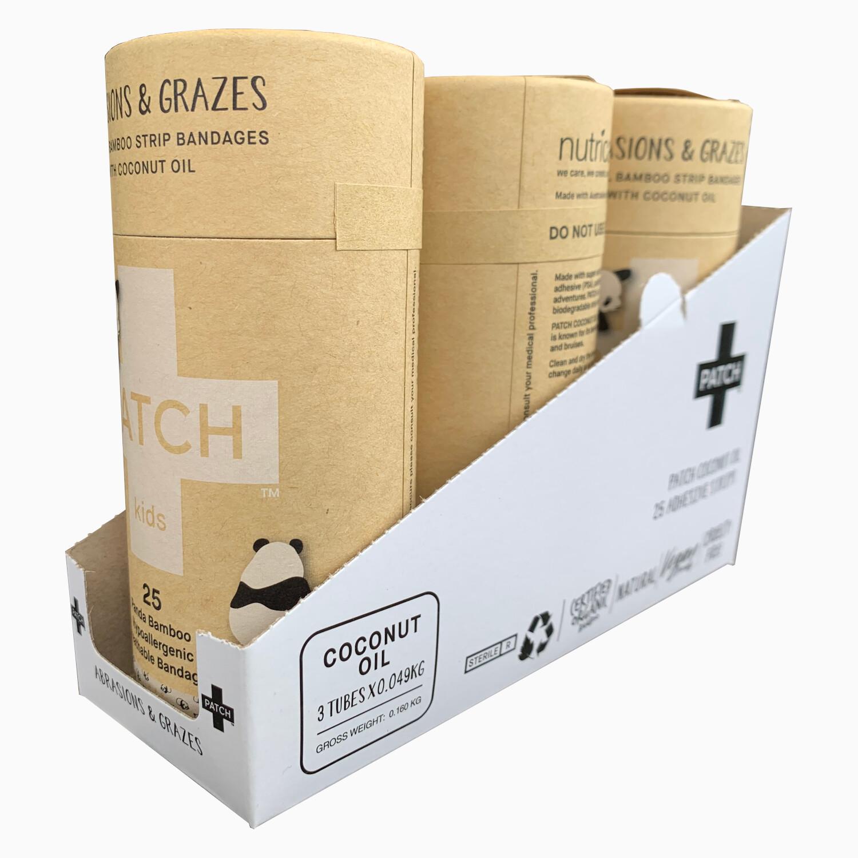 Patch Pleisters Panda Bamboe, Coconut Oil, hypoallergeen, verpakt per 3x25 stuks in SRP doosje