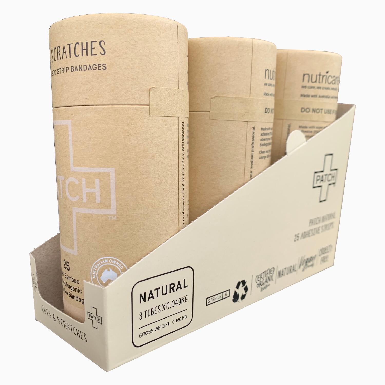 Patch pleisters Natural Bamboe, hypoallergeen, verpakt per 3x25 stuks in SRP doosje
