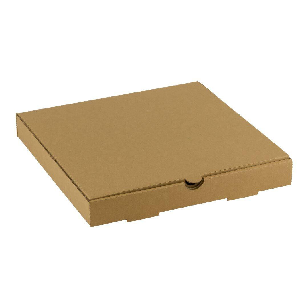 Kraft pizza doos 24x24x4cm blanco Verpakt per 100 stuks