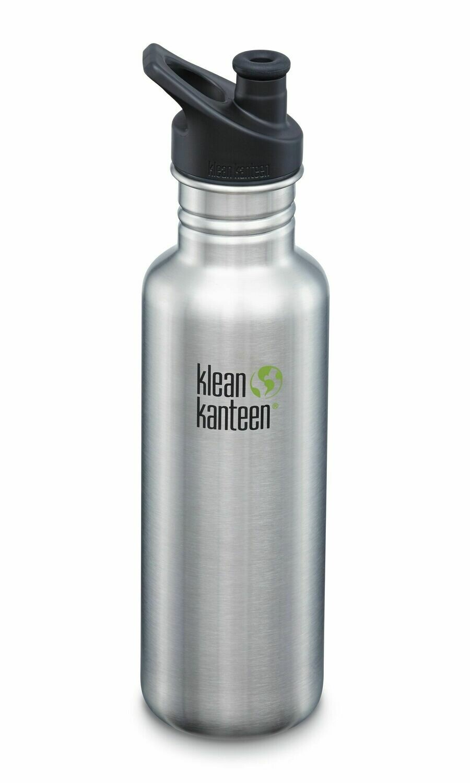 Klean Kanteen Classic drinkfles, sport cap, 27oz/800ml, geborsteld RVS, verpakt per stuk