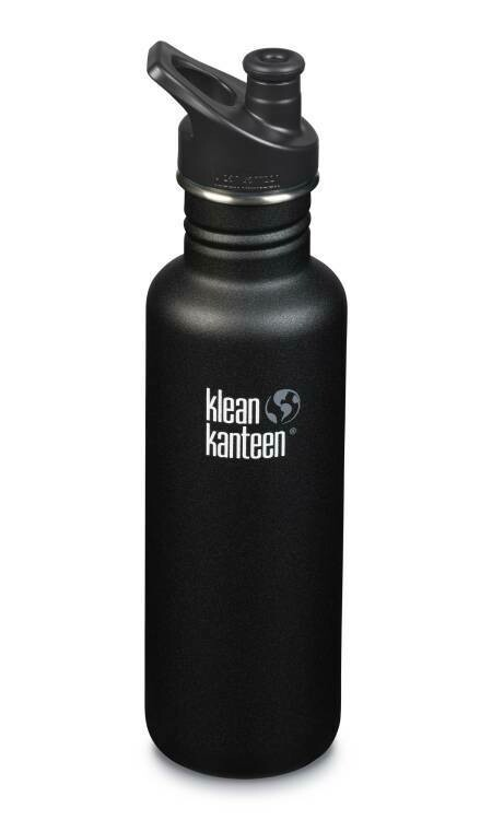 Klean Kanteen Classic drinkfles, Sport cap, 27oz/800ml, zwart, verpakt per stuk