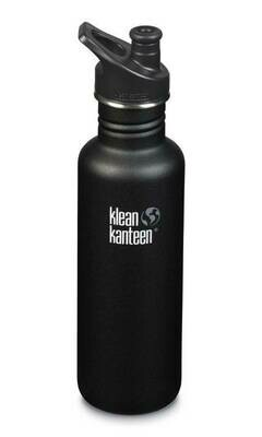 Klean Kanteen Classic drinkfles, Loop cap,  27oz/800ml, zwart