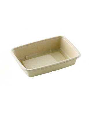 Bagasse box 1050ml/227x165x58mm bruin Verpakt 300 stuks