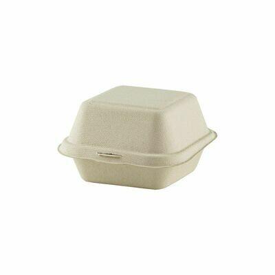 Suikerriet hamburgerbox 120x120x68mm bruin, Verpakt per 500 stuks