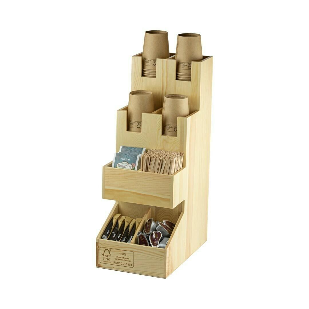 FSC® houten koffiedispenser/organizer 18,2x29,3x48cm, verpakt per stuk.