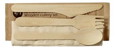 4-delige houten bestekset , individueel verpakt in sachet. verpakt per 100 stuks