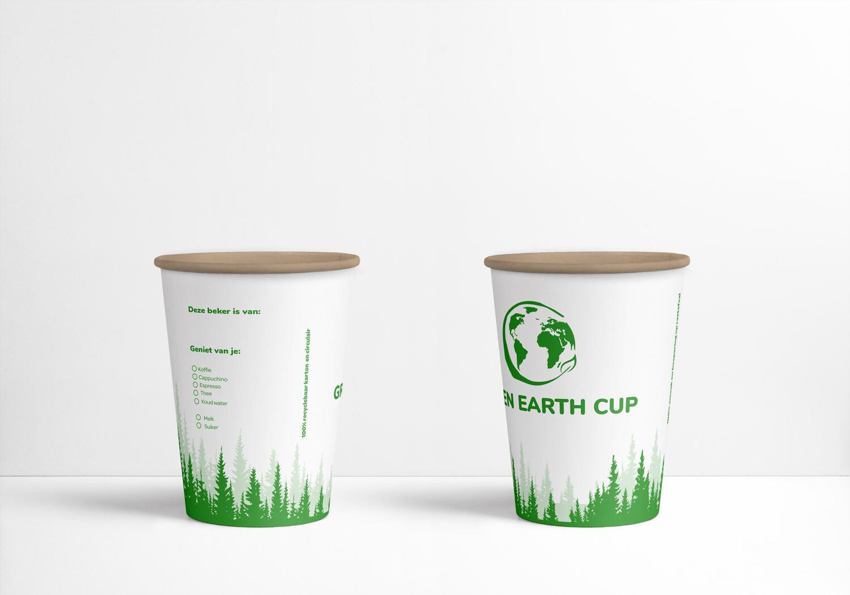100% plasticvrije Green Earth cup 7oz,/210ml, verpakt per 1000 stuks.