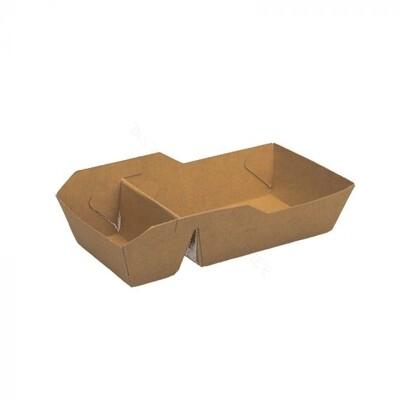 FSC® kraft snackbakje ongecoat A23 (A7+1) verpakt per 100 stuks.