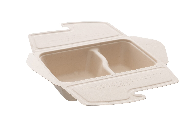 Suikerriet take away box 800ml 2-vaks,(500+300ml) 21x15x5cm, verpakt per 150 stuks