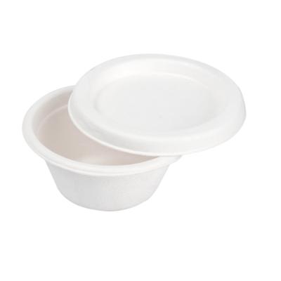 Bagasse sausbakje 60ml/69mm Ø wit + deksel, verpakt per 50 stuks