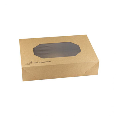 Kraft cateringdoos met PLA venster 36x25x8cm verpakt per 50 stuks