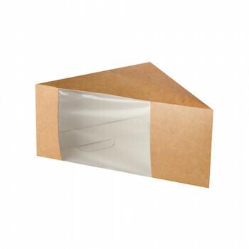 Kartonnen sandwichboxen met venster van PLA 'pure' 12,3 cm x 12,3 cm x 8,2 cm bruin, Verpakt per 50stuks