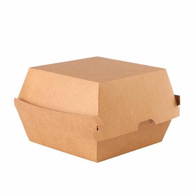 Natural kraft hamburgerbox XL 165x165x100mm Verpakt per 200 Stuks