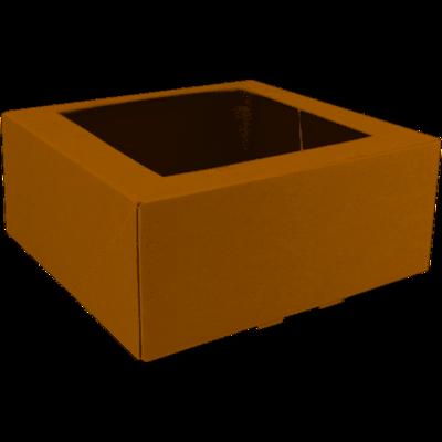 Gebaksdoos, karton/PET, 21x21x9cm, met venster, bruin,  verpakt per 150 stuks