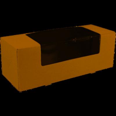 Gebaksdoos, karton/PET, 25x10x9cm, met venster, bruin,  verpakt per 150 stuks
