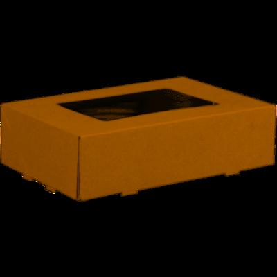 Gebaksdoos, karton/PET, 19x12,5x5cm, met venster, bruin,  verpakt per 125 stuks