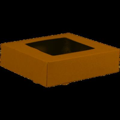 Gebaksdoos, karton/PET, 19x19x5cm, met venster, bruin, verpakt per 200 stuks