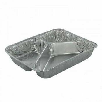 3-vaks Menuschaal laag, Aluminium 22,7x17,8cm, verpakt per 1000 stuks